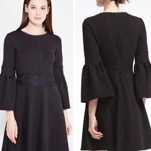 Banana Republic Black Lace Detail A-line Dress